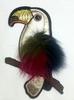 Аппликации попугай AK439-25 (беж с цветным меховым крылом)