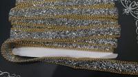 Тесьма со стразами клеевая с цепью SKC2-42-5Y